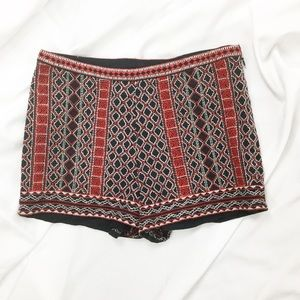 Forever 21 Red & Black Embroidered Shorts